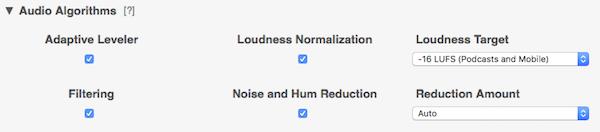 Hang algoritmusok kiválasztása Auphonic presetként