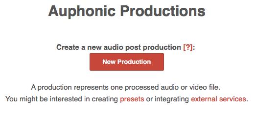 Auphonic beállítások - preset