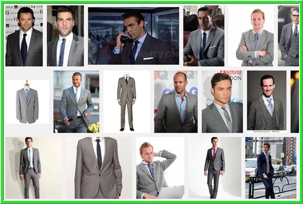 szürke öltöny kék nyakkendővel