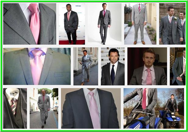 szürke öltöny pink nyakkendővel